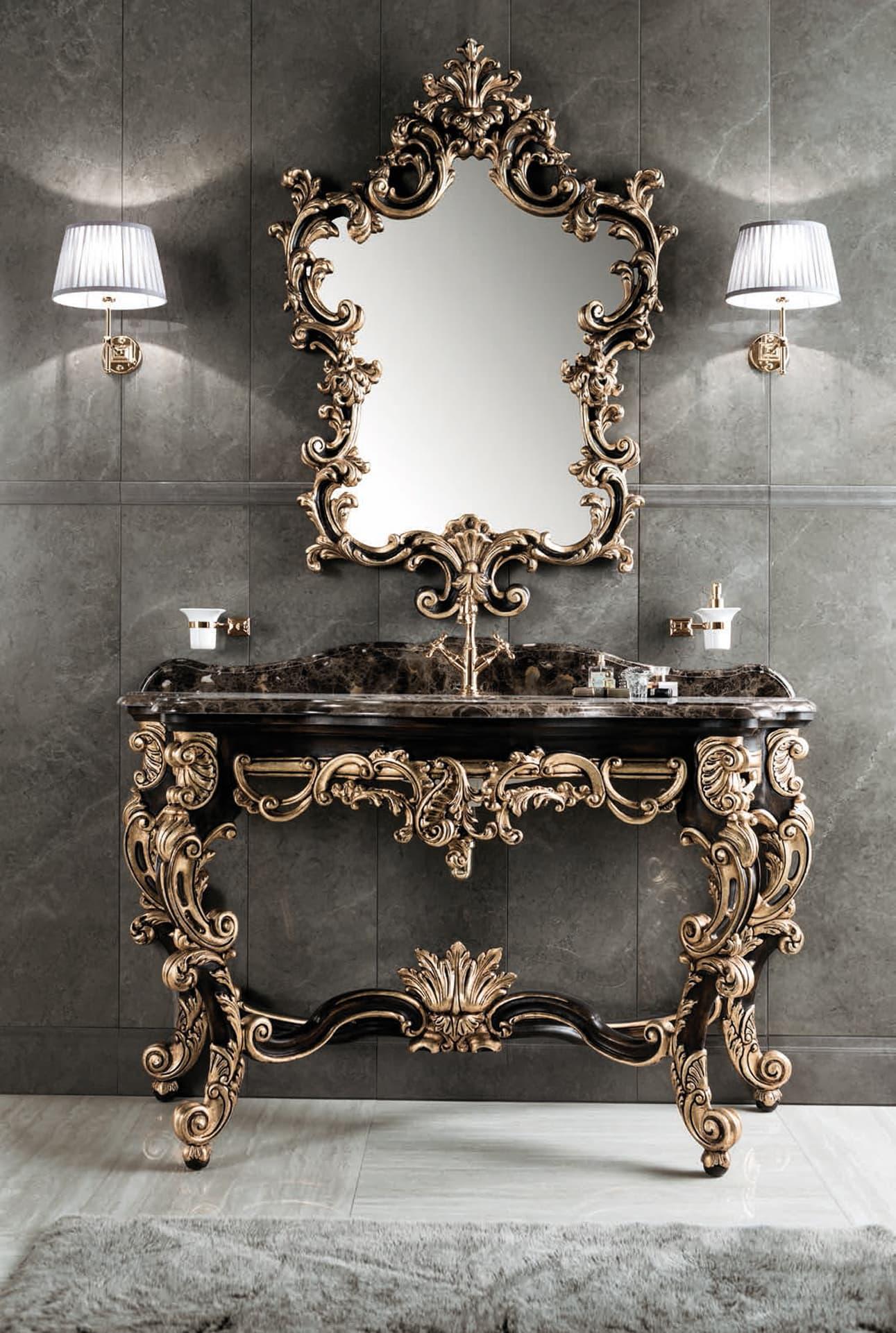 Mobili in legno bagno di lusso - legno intarsiato oro e marmo