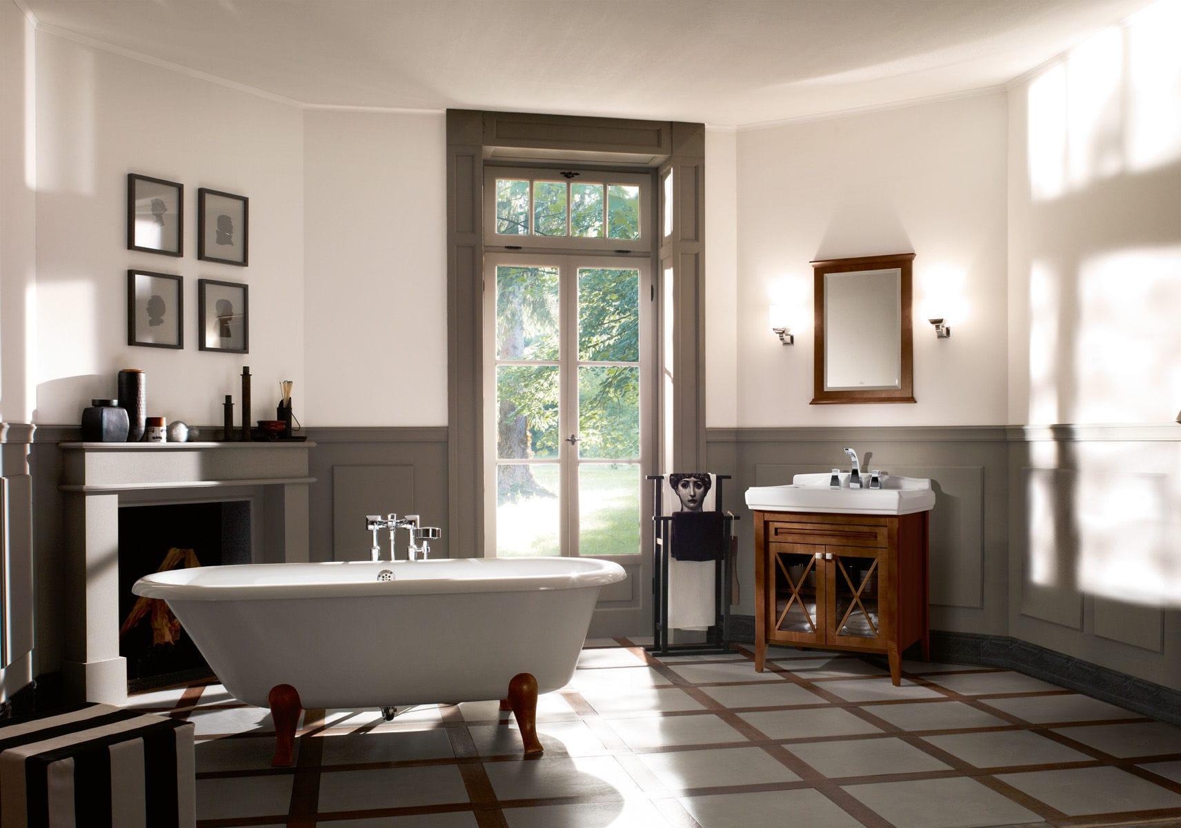 Vasca da bagno su piedi - in Solid Surface, in legno