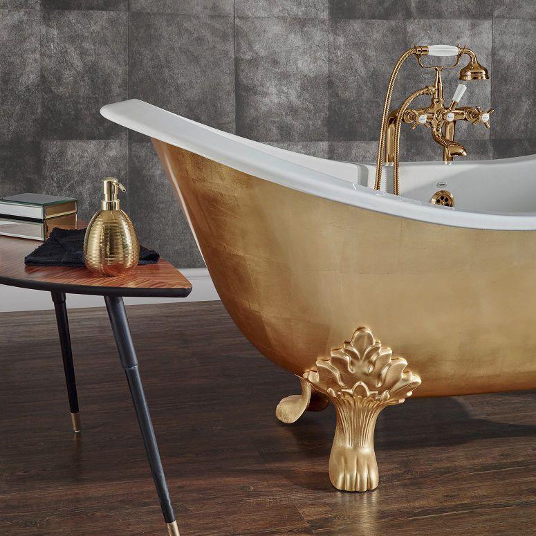 Bagno di lusso - Vasca da bagno su piedi in ghisa - LAVANDE FINITION FEUILLE D'OR