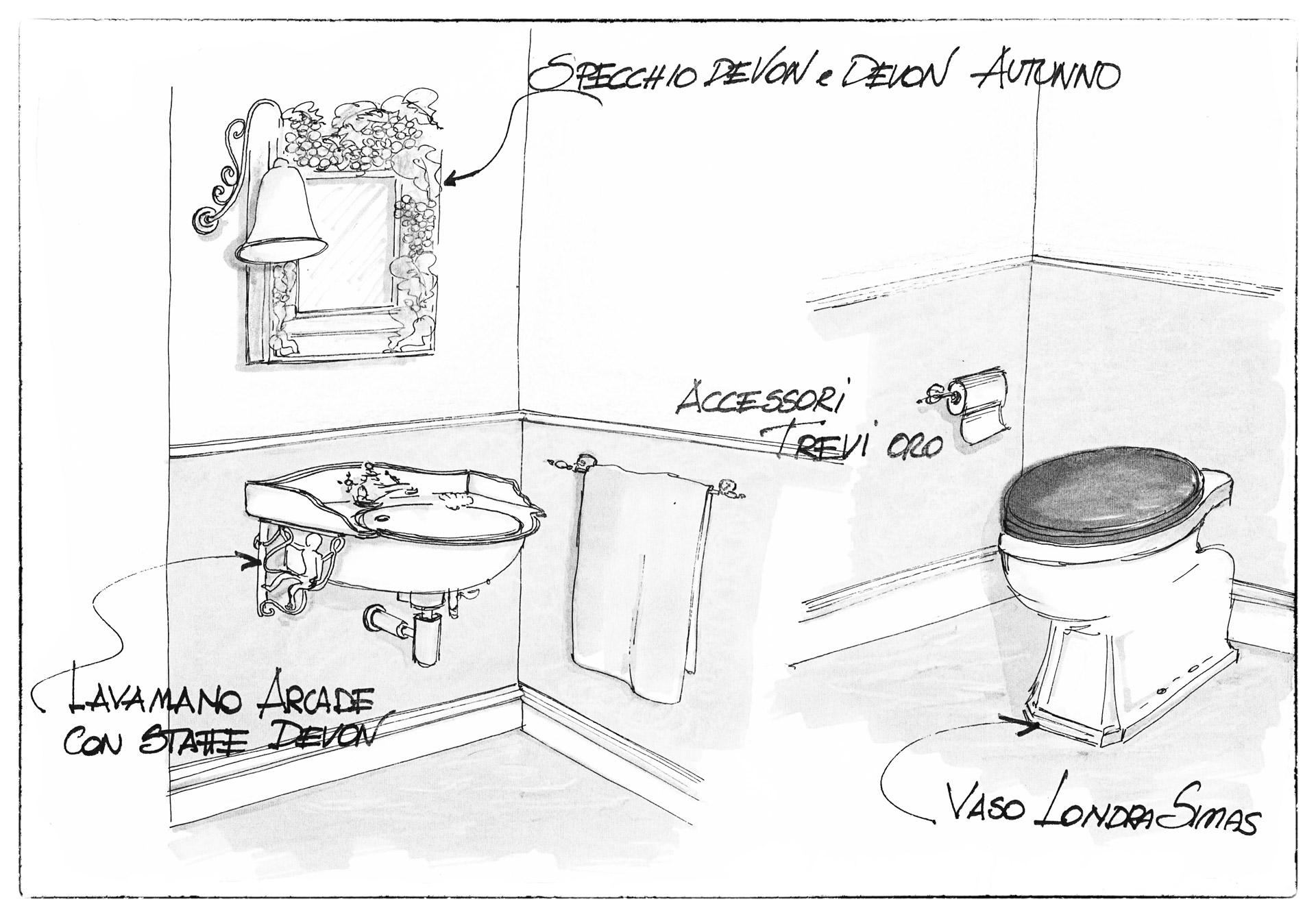 disegno progetto arredamento bagno