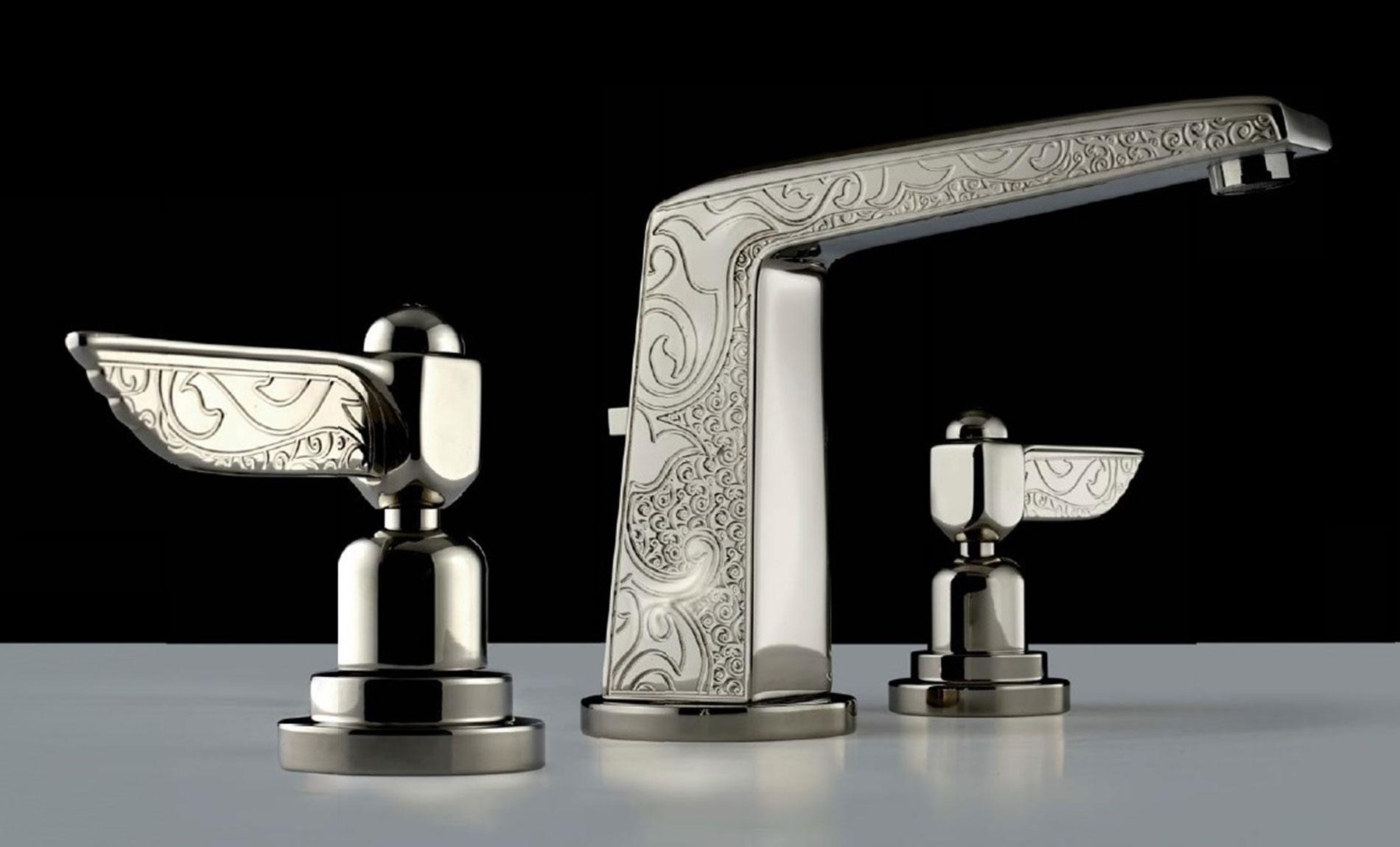 Batteria lavabo scarico automatico - con vitone ceramico in stile Liberty